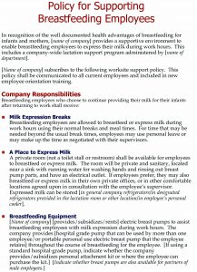 Policy for supporting breastfeeding employees